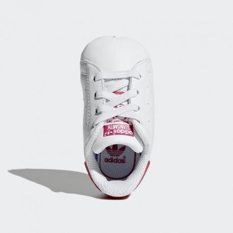 S82618 Scarpe da neonato Adidas Stan Smith bianco fucsia